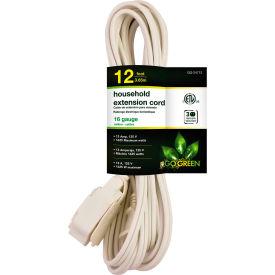 GoGreen Power, GG-24712, 12 Ft Household Extension Cord - White - Pkg Qty 10