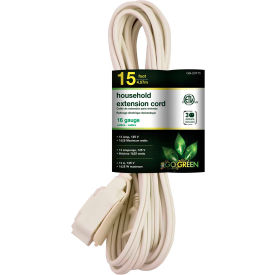 GoGreen Power, GG-24715, 15 Ft Household Extension Cord - White - Pkg Qty 10