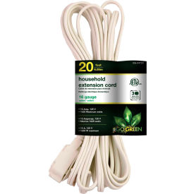 GoGreen Power, GG-24720, 20 Ft Household Extension Cord - White - Pkg Qty 10