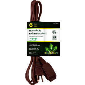 GoGreen Power, GG-24806, 6 Ft Household Extension Cord - Brown