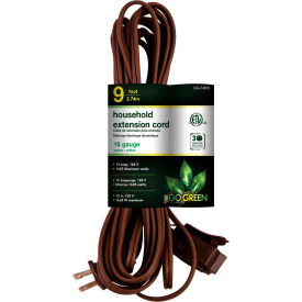 GoGreen Power, GG-24809, 9 Ft Household Extension Cord - Brown - Pkg Qty 10