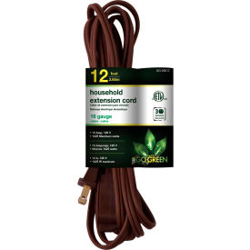 GoGreen Power, GG-24812, 12 Ft Household Extension Cord - Brown - Pkg Qty 10