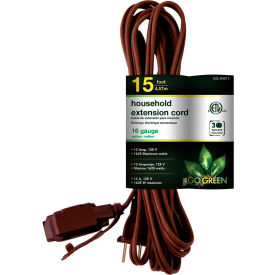 GoGreen Power, GG-24815, 15 Ft Household Extension Cord - Brown