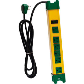 GoGreen Power, GG-26114, 6 Outlet Metal Surge Protector - 6 Ft Cord - Yellow/Green