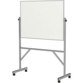 "Ghent®  Mobile Reversible Magnetic Porcelain Whiteboard, Aluminum Frame, 48""W x 36""H"