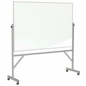 "Ghent®  Mobile Reversible Magnetic Porcelain Whiteboard, Aluminum Frame, 72""W x 48""H"