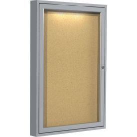 "Ghent® Concealed Lighting Enclosed Bulleting Board - 24""W x 36""H"