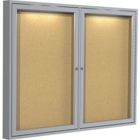 "Ghent® Concealed Lighting Enclosed Bulleting Board - 60""W x 36""H"