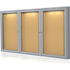 Ghent® Concealed Lighting Enclosed Bulleting Board - 4' x 8'