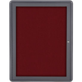 "Ghent® 1 Door Ovation Bulletin Board, Merlot Fabric/Gray Frame, 24-1/8""W x 33-3/4""H"