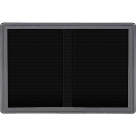 "Ghent® 2 Sliding Doors Ovation Letter Board, Black w/Gray Frame, 46-7/8""w x 33-3/4""H"