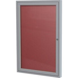 "Ghent® 1 Door Enclosed Vinyl Letter Board w/Silver Frame, 18""W x 24""H, Burgundy"