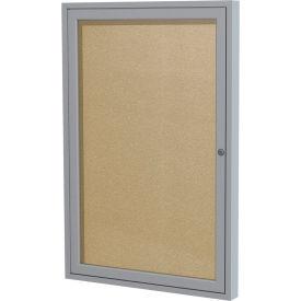 """Ghent® 1 Door Enclosed Indoor/Outdoor Vinyl Bulletin Board- 36"""" x 24"""" - Caramel"""