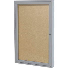 "Ghent® 1 Door Enclosed Indoor/Outdoor Vinyl Bulletin Board - 36"" x 36"" - Caramel"