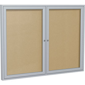 "Ghent® 2 Door  Enclosed Indoor/Outdoor Vinyl Bulletin Board - 36"" x 60"" - Caramel"