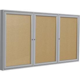 Ghent® 3 Door Enclosed Indoor/Outdoor Vinyl Bulletin Board - 4' x 8' - Caramel