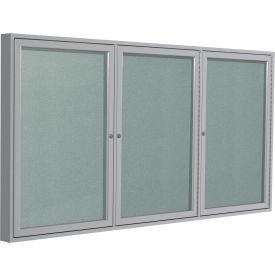 Ghent® 3 Door Enclosed Indoor/Outdoor Vinyl Bulletin Board - 4' x 8' - Silver