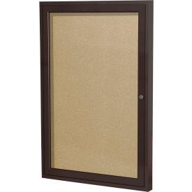 """Ghent® 1 Door Enclosed Indoor/Outdoor Vinyl Bulletin Board - 36"""" x 24"""" - Caramel"""