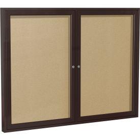 """Ghent® 2 Door Enclosed Indoor/Outdoor Vinyl Bulletin Board - 36"""" x 48"""" - Caramel"""