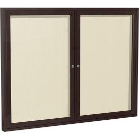 """Ghent® 2 Door Enclosed Indoor/Outdoor Vinyl Bulletin Board - 36"""" x 48"""" - Ivory"""