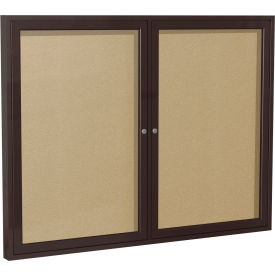 "Ghent® 2 Door Enclosed Indoor/Outdoor Vinyl Bulletin Board - 48"" x 60"" - Caramel"