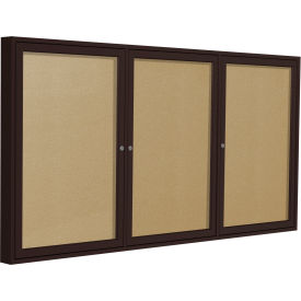 "Ghent® 3 Door Enclosed Indoor/Outdoor Vinyl Bulletin Board - 48"" x 72"" - Caramel"