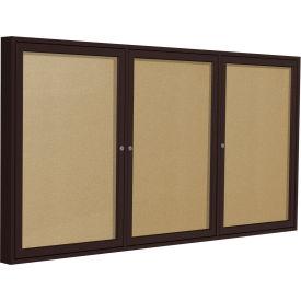 """Ghent® 3 Door Enclosed Indoor/Outdoor Vinyl Bulletin Board - 48"""" x 72"""" - Caramel"""