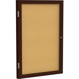 """Ghent® 1 Door Enclosed Bulletin Board, Walnut Frame, 18""""W x 24""""H"""