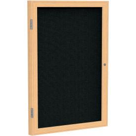 "Ghent® 1 Door Enclosed Fabric Bulletin Board, Black Fabric/Oak Frame, 36""W x 36""H"