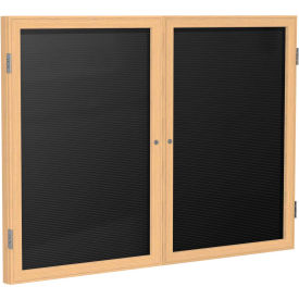 "Ghent® 2 Door Enclosed Flannel Letter Board w/Oak Frame, 48""W x 36""H, Black"
