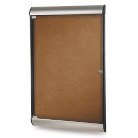 """Ghent® Silhouette Upscale Wall-Mounted Enclosed Bulletin Board, Camel, 27-3/4""""W x 42-1/8""""H"""