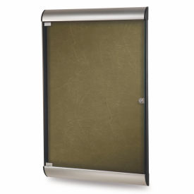 """Ghent® Silhouette Upscale Wall-Mounted Enclosed Bulletin Board, Forest, 27-3/4""""W x 42-1/8""""H"""