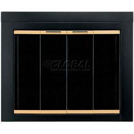 "Pleasant Hearth Arrington Fireplace Glass Door Black With Gold Trim AR-1020 37-1/2""L x 30""H"