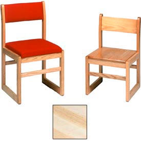 """Solid Oak Chair With Rack, Upholstered 16-3/4""""W X 17-3/4""""D X 34""""H, Natural Finish"""