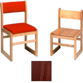 """Solid Oak Chair With Sled Base, Upholstered 17-7/8""""W X 18-5/8""""D, Walnut Finish"""