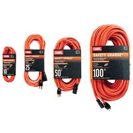 Carol 03327.63.04 25' Safety Orange /#174; Extension Cord, 16AWG 10A/125V - Orange