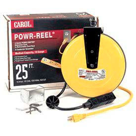 Carol 44623.61.05 25' Powr-Reel /#8482; With 3 Outlets, 16awg 10a/125v - Yellow - Pkg Qty 4 - Pkg Qty 4