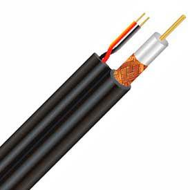 Carol C8028.38.01 Siamese Coaxial Cable: RG59/U + 18/2 Shielded, Black, 500 Ft