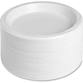 "Genuine Joe Plastic Plates, 10-1/4"" Diameter, Reusable/Disposable, 125/Pack, White by"