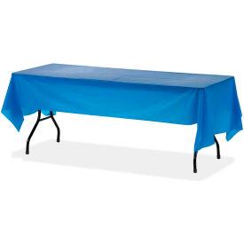 "Genuine Joe® GJO10325, Rectangular Tablecover, 54""W x 108""L, Plastic, Blue, 6/Pack"