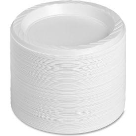 "Genuine Joe Plastic Plates, 6"" Diameter, Reusable/Disposable, 125/Pack, White by"