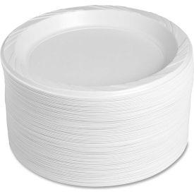 "Genuine Joe Plastic Plates, 9"" Diameter, Reusable/Disposable, 125/Pack, White by"