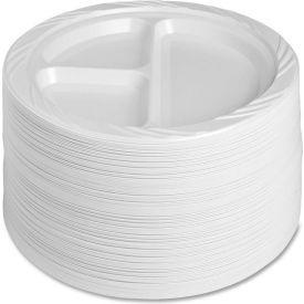 "Genuine Joe Plastic Plates, 9"" Diameter, Reusable/Disposable, 3-Compartments,... by"