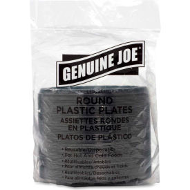 "Genuine Joe GJO10427, Plastic Plates, 6"" Dia., Black, 125/Pack by"
