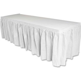 """Genuine Joe Table Skirt, 14'L x 29""""H, Pleated, Linen/Polyester, White by"""