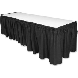 "Genuine Joe GJO11916 Table Skirt, 14'L x 29""H, Pleated, Linen/Polyester, Black by"