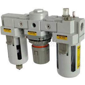 "PneumaticPlus SAU4000M-N04G Three Unit Compressed Air Filter Regulator Lubricator FRL Unit 1/2"" NPT"