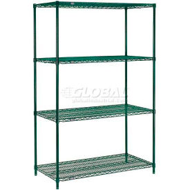 "Nexel® Green Epoxy Wire Shelving, 36""W X 18""D X 74""H"