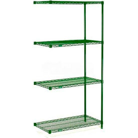"Nexel® Green Epoxy Wire Shelving Add-On, 24""W X 18""D X 63""H"