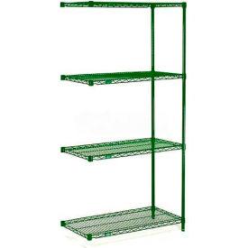 "Nexel® Green Epoxy Wire Shelving Add-On, 30""W X 18""D X 63""H"